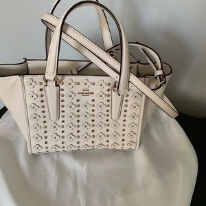 Coach flower studded small tote/crossbody